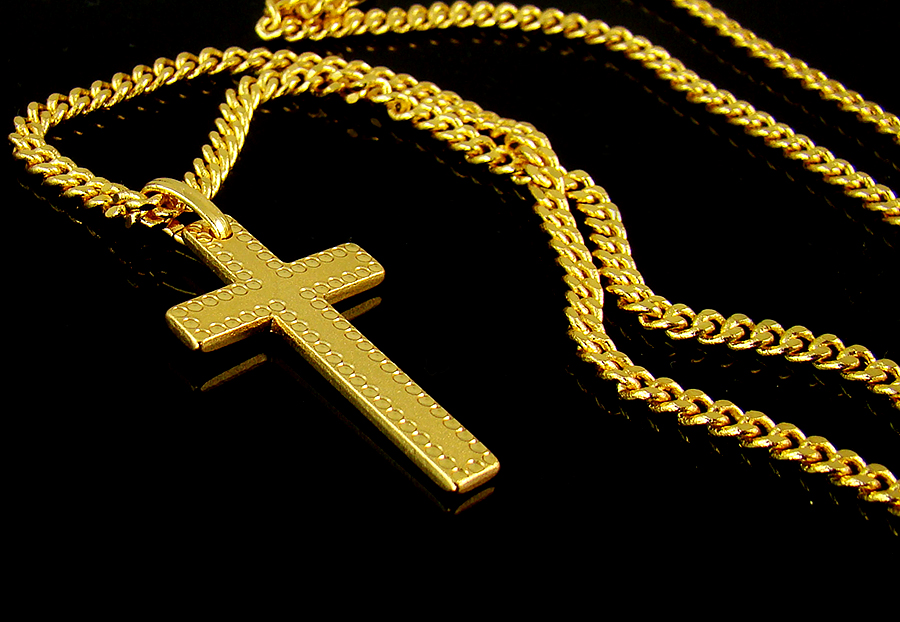 High q 18k gold nano injection plated mens engrave cross pendant chain