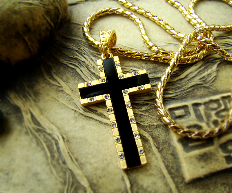 18k gold plated mens big cross necklace pendant chain w onyx gift 18k gold plated mens big cross necklace pendant chain w onyx gift idea 24b ebay aloadofball Images