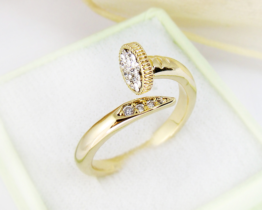womens yellow gold plated nail ring jewelry wrap