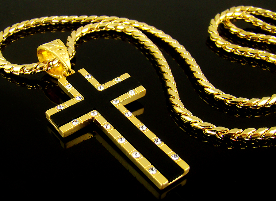 157 cross pendant 28 chain 18k gold plate men onyx mens necklace 157 cross pendant 28 chain 18k gold plate men onyx mens necklace hiphop 93bl ebay aloadofball Image collections