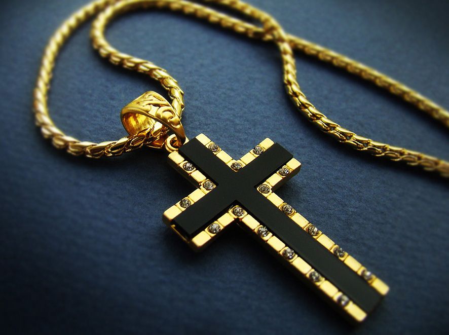 Mens cross necklace pendant 18k gold nano injection plated chain mens cross necklace pendant 18k gold nano injection plated chain onyx hiphop 93 ebay mozeypictures Image collections