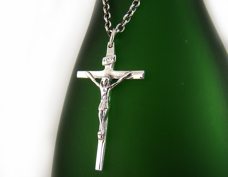 Mens sterling silver 925 jesus crucifix cross pendant chain necklace mens sterling silver 925 jesus crucifix cross pendant chain necklace set p313sc ebay aloadofball Image collections