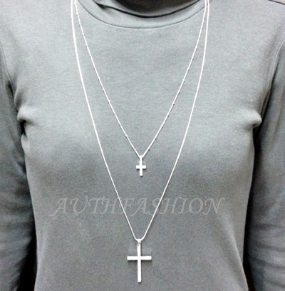 Womens big double cross pendant long necklace chain crystal silver unique different long double chain necklace 17 43cm 134 34cm aloadofball Choice Image
