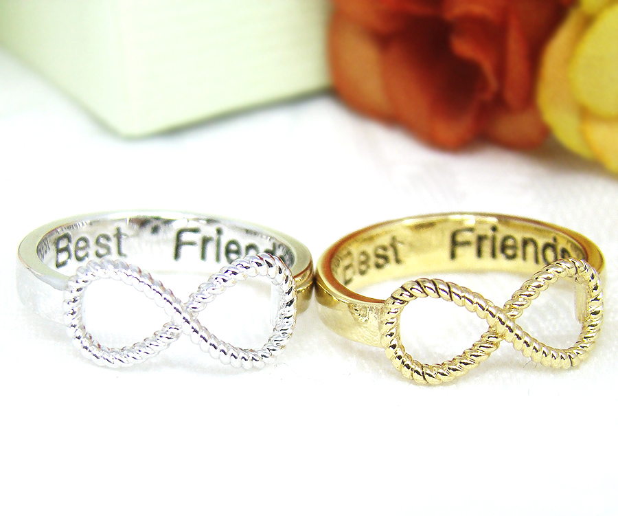 Best Friends Ring Womens Infinity Ring Engraved Ring Jewelry Gold
